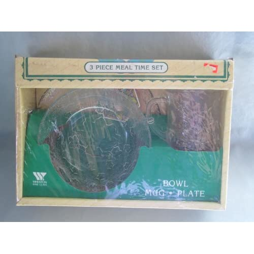 Vintage 1983 Wheaton Glass Cabbage Patch Kids Meal Time Set   (Bowl, Mug, & Plate)