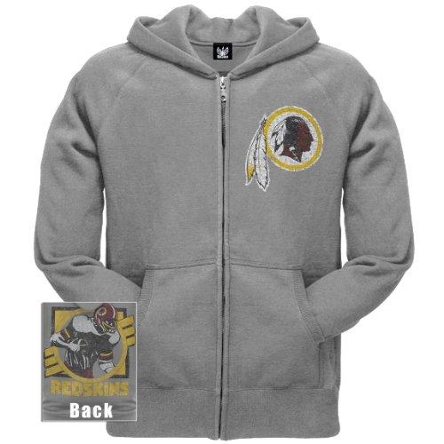 Old Glory Mens Washington Redskins - Vintage Logo Overdye Zip Hoodie - Large Grey