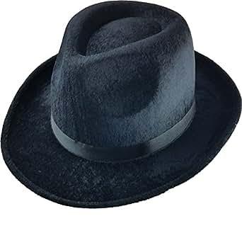 Black Fedora Gangster Hat Costume Accessory