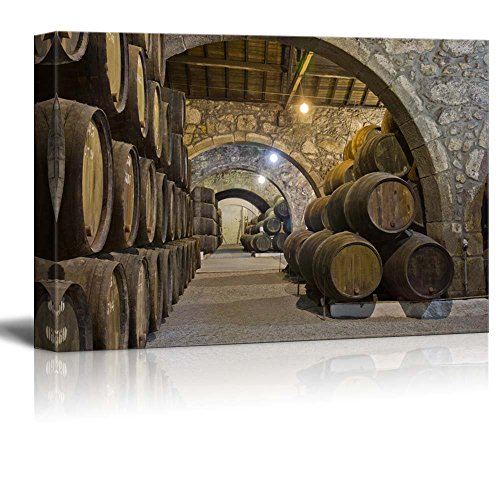 Wall26 - Canvas Prints Wall Art - Cellar with Wine Barrels | Modern Wall Decor/ Home Decoration Stretched Gallery Canvas Wrap Giclee Print. Ready to Hang - 24