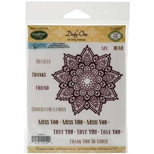 Justrite Mini Cling Stamp Set, 3.5-Inch x 4-Inch, Doily One - 1