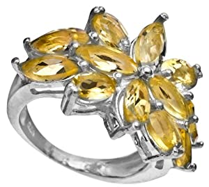 Faceted Citrine Ring - Sterling Silver