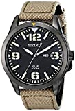 Military Watches Seiko Men's SNE331 Sport Solar Black Stainless Steel Watch with Beige Nylon Band
