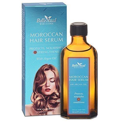 Belle Azul Siero per capelli con Olio di Argan biologico. Trattamento per capelli danneggiati, sfibrati, deboli, crespi o secchi. Protegge dai danni causati dal calore termico. Morocccan oil effetto anti-crespo. 100ml