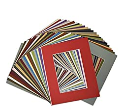 Golden State Art, Pack of 50, High Quality Acid-Free Mixed Colors Pre-Cut 8x10 Picture Mat for 5x7 Photo with White Core Bevel Cut Frame Mattes