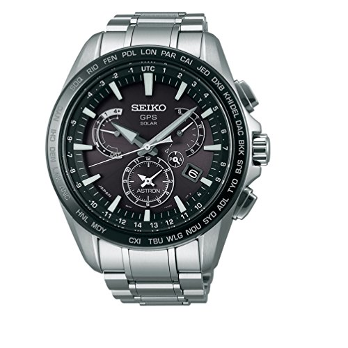 Men's Seiko Astron GPS Solar Dual Time Dual time indicator (40 time zones) SSE077