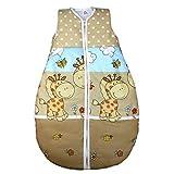 Vierjahreszeiten Schlafsack für Baby Schlafsack Baumwolle Kinderschlafsack Wattierter Babyschlafsack ohne Ärmel, Farbe: Tupfen / Giraffen Beige, Größe: 80-86