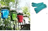 Minerva Naturals Garden The Store Balcony Railing Planter Set Of 3 (30 Cm X 30 Cm X 30 Cm) + Green gloves 12'' for garden