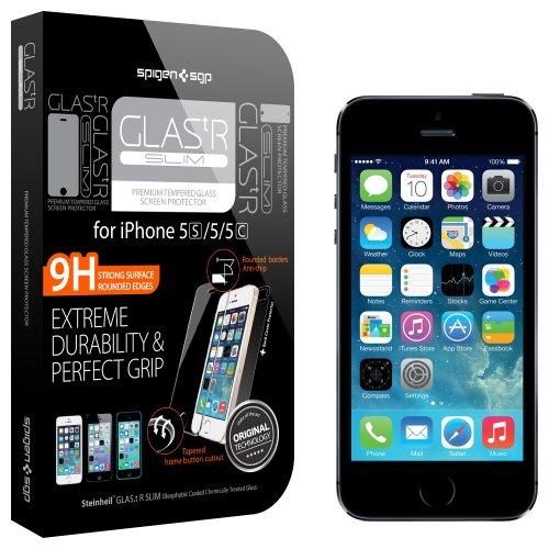 国内正規品 強化ガラス Spigen iPhone 5s / 5c / 5 シュタインハイル GLAS.t R スリム リアル スクリーン プロテクター (背面保護フィルム同梱) SGP10111