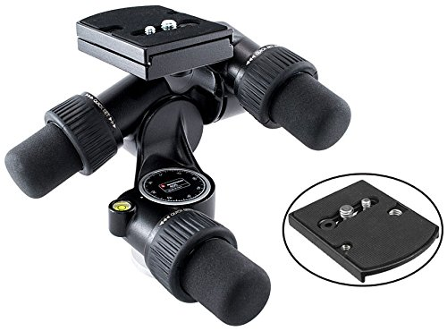 Manfrotto 405 Pro Digital Geared Head with RC4 Rapid Connect Plate 410PL and a Bonus Ivation Low Profile Quick Release Mounting Plate (Manfrotto Knob compare prices)