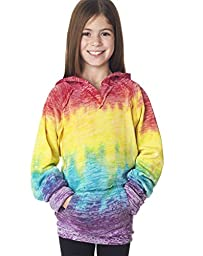 WEATHERPROOF Youth Girl\'s Courtney Burnout V-Notch Sweatshirt>M Rainbow W1162Y