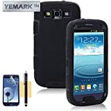 Galaxy S3 Case, YEMARK Fashion Hybrid High Impact Bumpers Slim Back Protective Case For Samsung Galaxy S3 i9300[Soft Silicone Skin][+Stylus+Screen Protector+Cleaning Cloth]-(Black)