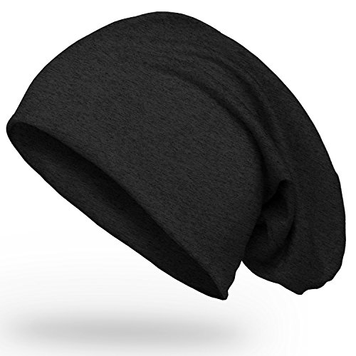 einfarbige, weiche Jersey Slouch Beanie, Oversized Long-Beanie Mütze für Herren und Damen, Unifarben, Autiga® anthrazit unisize