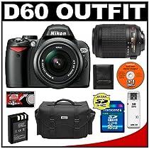 Nikon D60 Digital SLR Camera with 18-55mm AF-S VR Zoom Lens + Nikon 55-200mm AF-S VR Zoom Lens + 16GB SD Card + EN-EL9 Battery + Case + Cameta Bonus Accessory Kit