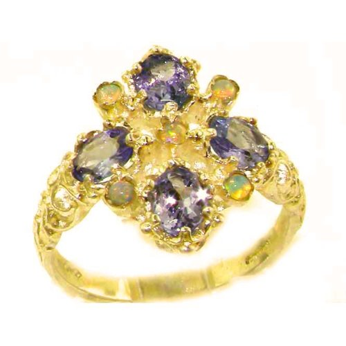 Luxury Ladies Victorian Style Solid Hallmarked 14K Yellow Gold Natural Tanzanite & Fiery Opal Ring - Size 9.25 - Finger Sizes 5 to 12 Available - Perfect Gift for Birthday, Christmas, Valentines Day, Mothers Day, Mom, Mother, Grandmother, Daughter, Graduation, Bridesmaid.