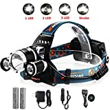 Waterproof 5000Lm LED Headlamp with 4 Light Modes Hands Free Headlight Flashlight Torch+2x18650 Rechargeable Batteries+AC Charger+Car Charger for Camping Biking Hunting Fishing Outdoor Sports