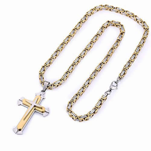 Trendsmax Stainless Steel Gold Silver Tone Cross Pendant Necklace 22inches Byzantine Chain Necklace 5mm by Trendsmax