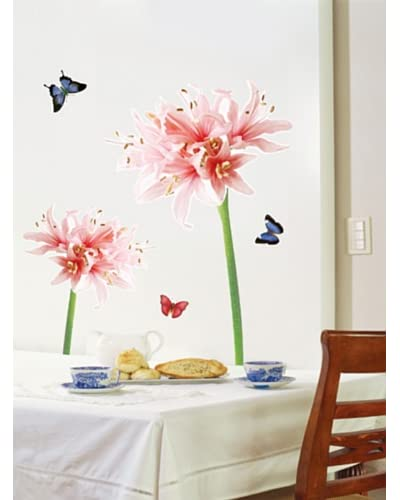 Ambiance Live Vinilo Adhesivo Pink And White Lily Flowers Multicolor