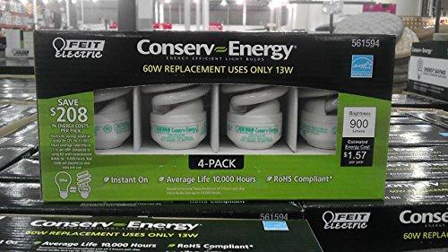 Feit Ce13T2 Conserv-Energy 60W Equivalent Cfl 13-Watt Light Bulbs, 4-Pack