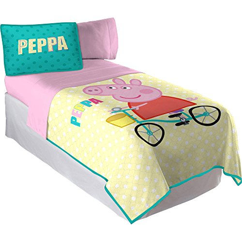 Peppa pig how peppa rolls twin full quilt with sham and Whats bigger full or twin
