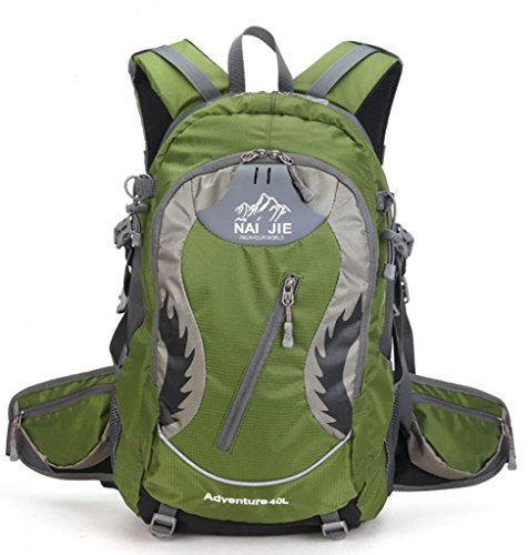 Zerd Outdoor Waterproof Nylon Mountaineering Camping Travel Backpack Trekking Bag 40L Dark Green front-207921