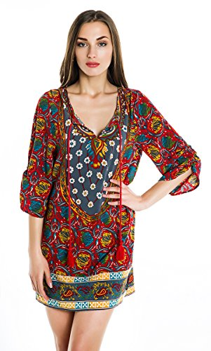 Women Bohemian Neck Tie Vintage Printed Ethnic Style Summer Shift Dress (Large, Pattern 10