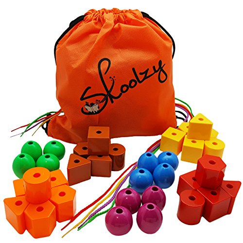JUMBO PRIMARY STRINGING BEAD SET by Skoolzy with 36 Lacing Beads for Toddlers and Babies. Includes 4 Strings, Carrying Tote & Busy Bag Idea Guide - Montessori Toys for Fine Motor Skills Autism OT