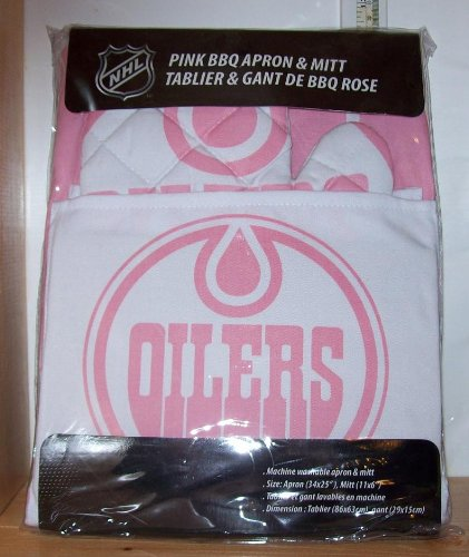 Edmonton Oilers Pink Apron with Oven/Barbeque Mitt