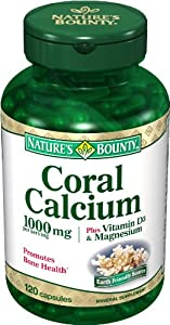 Nature's Bounty Coral Calcium Plus Vitamin D3 and Magnesium, 1000mg, 120 Capsules