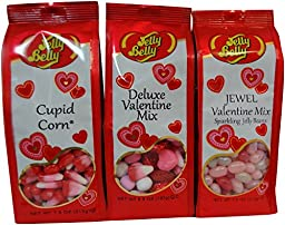 Jelly Belly Valentine\'s Day Candy Gift Bag Set - Cupid Corn (Candy Corn), Deluxe Valentine Mix & Jewel Valentine Jelly Bean Mix - Kosher Certified
