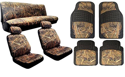 Complete Muddy Water Forest Camouflage Interior Set for Car & Trucks - 2 Front Seats - Rear Bench - Premium 4pc Heavy Duty Floor Mat Set Snow Rain Duck Hunting (Real Tree Truck Seat Covers compare prices)