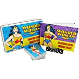 DC Comics Wonderwoman Playing Card and Dice Set in a Flat Brushed Tin