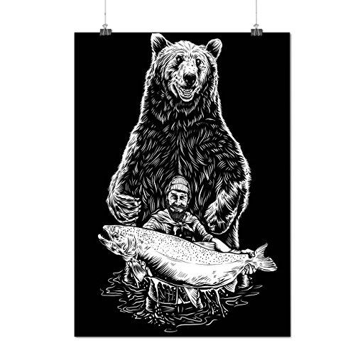 Pêche Ours Pêcheur grisonnant Matte/Glacé Affiche A2 (60cm x 42cm) | Wellcoda