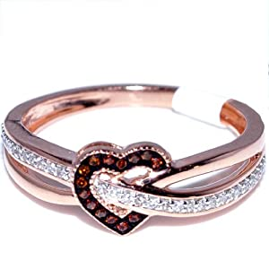 Heart Ring Rose Gold Red and White diamonds 7mm Wide 0.25ct Diamonds 10K Fashion Promise Ring