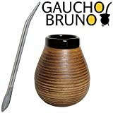 Gaucho Bruno Yerba Mate Starter Kit Large Ceramic Mate Cup With Bombilla