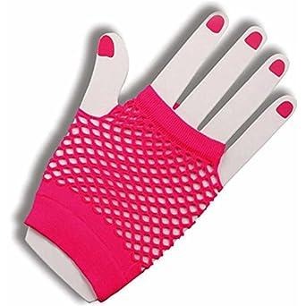 Neon Pink Fishnet Fingerless Wrist Gloves