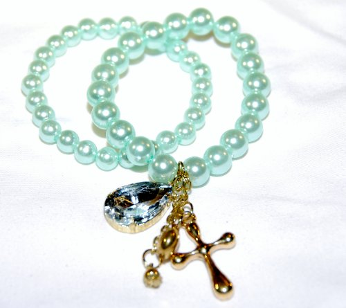 Teen or Womens Jewelry 2pc Light Green Pearl Bracelet Set, Stretch with Dangle Stones & Cross Charms