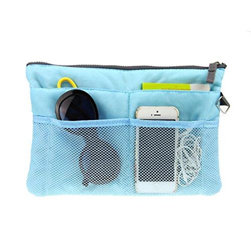 Holiberty Multi-funtional Nylon Zipper Travel Handbag Pouch / Bag in Bag / Insert Organizer / Cosmetic Toiletry Bag Pocket / Makeup Bag / Tidy Bag Blue