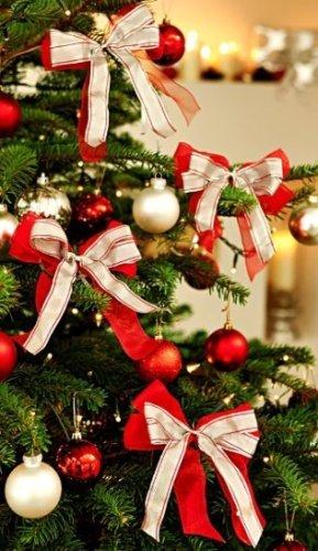 Deko Schleifen rot-creme Weihnachten
