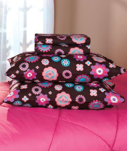 Flower Sheets Full Size! Pretty Peace Sign Girls Bedding Sheets Brown, Purple, Pink, Teal front-5737