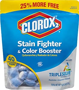 Clorox 2 Stain Remover and  Color Booster Concentrated Packs, 40 Count (Pack of 6)