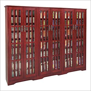 CD/DVD Massive Glass Door Dark Cherry Cabinet