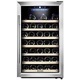 50 Bottle Stainless Steel Wine Cooler, Kalamera Glass Door Refrigerator with Digital Temperature Display