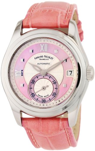 Armand Nicolet M03 9155A-AS-P915RS8 34mm Automatic Stainless Steel Case Pink Leather Anti-Reflective Sapphire Women's Watch