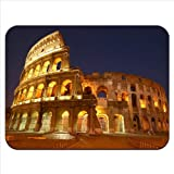 Illuminated View Roman Colosseum in Rome Italy Premium Quality Thick Rubber Mouse Mat Pad Soft Comfort Feel Finish