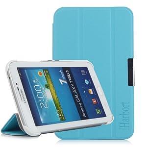 iHarbort Premium Leder Tasche Hülle Etui Schutzhülle Für Samsung Galaxy Tab 3 7.0 Zoll T210 T211 P3200 P3210 Case Holder Blau