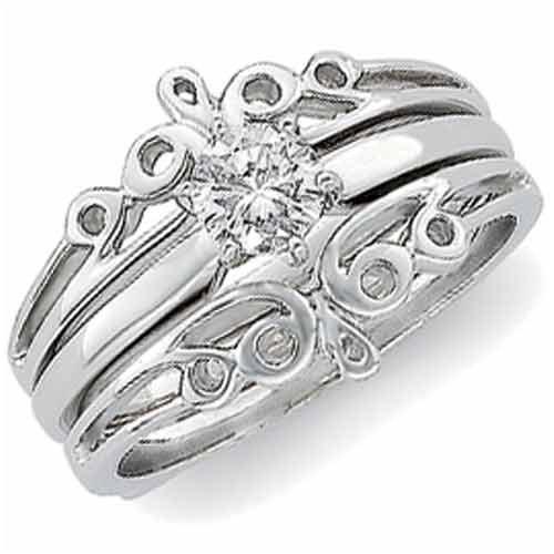 14K White Gold Designer Style Ring Guard Enhancer