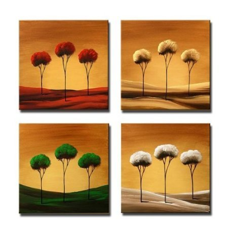SR Red Yellow White Dandelion 4 pcs/set 100% Hand Painted Oil Paintings Home Decoration With Wood Framed Artwork And Read To Hang Modern Canvas Art Wall Decor