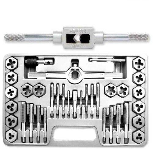 Pro-Grade SAE 40-Piece High-Strength Steel Alloy Hexagon Tap & Die Set - SAE #4 - 1/2