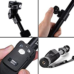Sparkling Trends Extendable handheld Yunteng 1288 Pro 2-In-1 Adjustable Self Portrait Yunteng Selfie Stick Monopod for Camera and iPhone, Smartphones with Bluetooth Remote Shutter (BLACK)